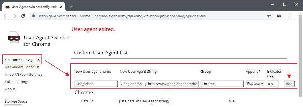 User-Agent Switcher добавить новый юзер-агент
