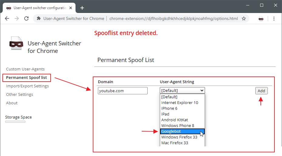 User-Agent Switcher включить только для ютуба